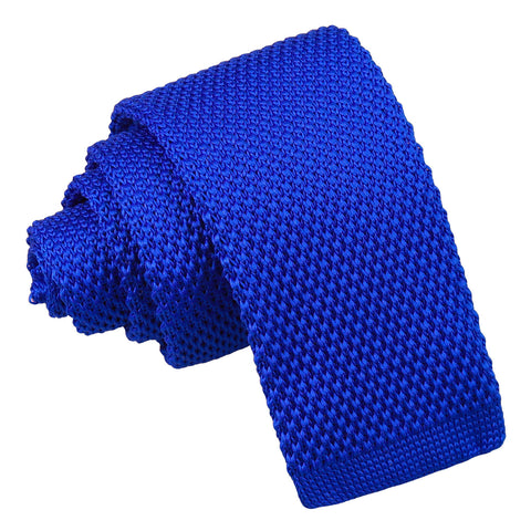 Plain Knitted Tie - Boys - Royal Blue