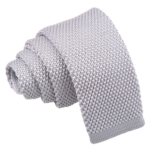Plain Knitted Tie - Boys - Silver