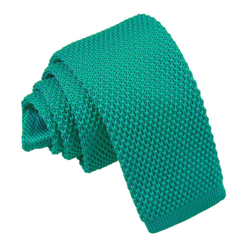 Plain Knitted Tie - Boys - Teal