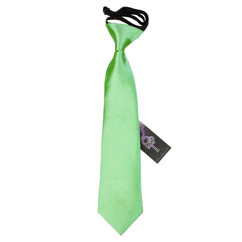 TiesDirect.co.uk - Plain Satin Elasticated Tie - Boys Colour lime-green