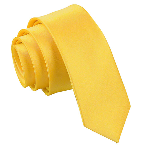 TiesDirect.co.uk - Plain Satin Skinny Tie Colour marigold