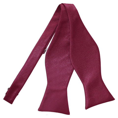 TiesDirect.co.uk - Plain Satin Self-Tie Bow Tie Colour burgundy