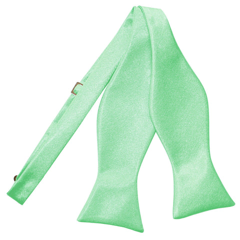 TiesDirect.co.uk - Plain Satin Self-Tie Bow Tie Colour mint-green