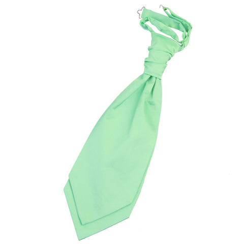TiesDirect.co.uk - Plain Satin Pre-Tied Ruche Cravat Colour mint-green