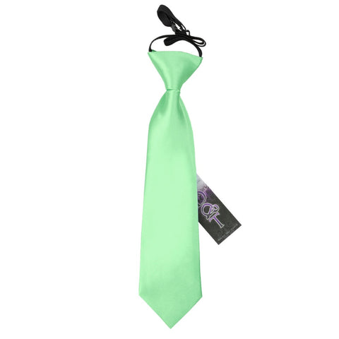 TiesDirect.co.uk - Plain Satin Elasticated Tie - Boys Colour mint-green