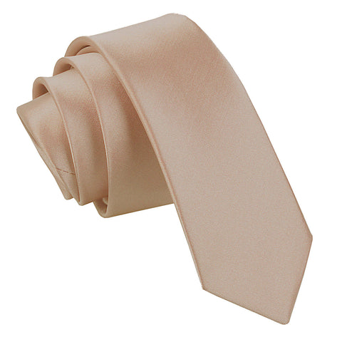 TiesDirect.co.uk - Plain Satin Skinny Tie Colour mocha-brown