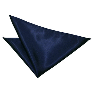 TiesDirect.co.uk - Plain Satin Handkerchief Colour navy-blue