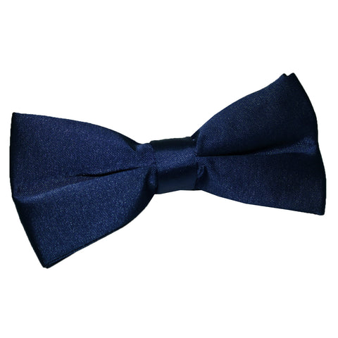 TiesDirect.co.uk - Plain Satin Pre-Tied Bow Tie Colour navy-blue