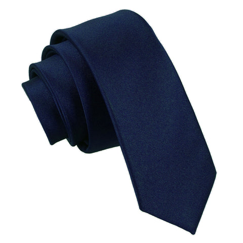 TiesDirect.co.uk - Plain Satin Skinny Tie Colour navy-blue
