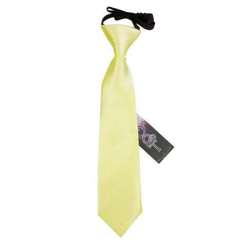 TiesDirect.co.uk - Plain Satin Elasticated Tie - Boys Colour pale-yellow