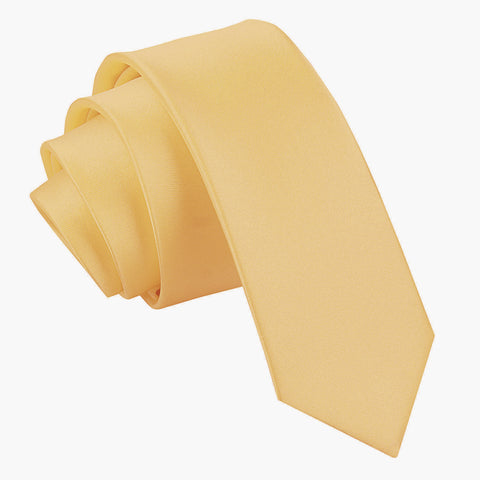 TiesDirect.co.uk - Plain Satin Skinny Tie Colour pale-yellow
