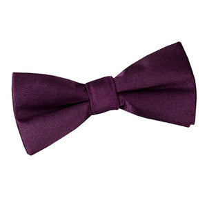 TiesDirect.co.uk - Plain Satin Pre-Tied Bow Tie - Boys Colour plum
