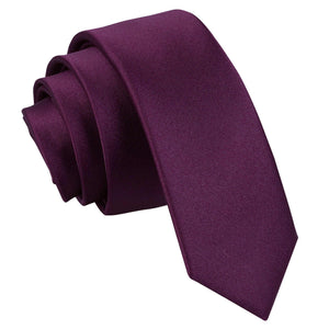 TiesDirect.co.uk - Plain Satin Skinny Tie Colour plum