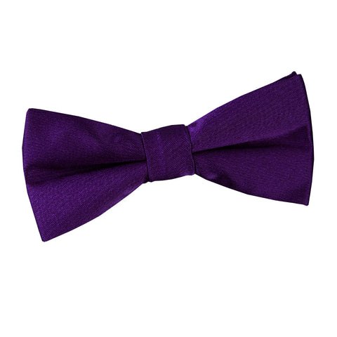 TiesDirect.co.uk - Plain Satin Pre-Tied Bow Tie - Boys Colour purple