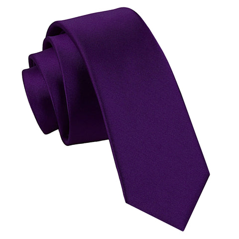 TiesDirect.co.uk - Plain Satin Skinny Tie Colour purple