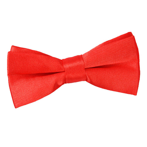 TiesDirect.co.uk - Plain Satin Pre-Tied Bow Tie - Boys Colour red