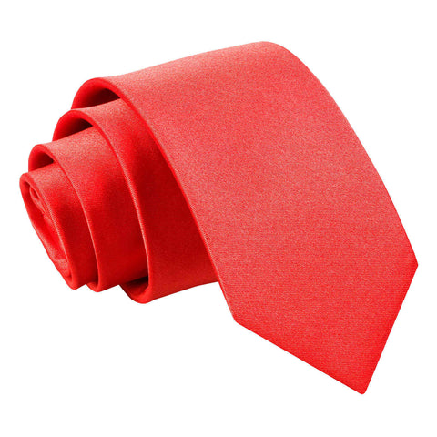TiesDirect.co.uk - Plain Satin Regular Tie - Boys Colour red