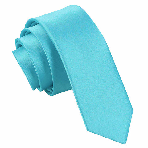 TiesDirect.co.uk - Plain Satin Skinny Tie Colour robins-egg-blue
