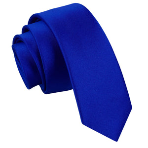 TiesDirect.co.uk - Plain Satin Skinny Tie Colour royal-blue
