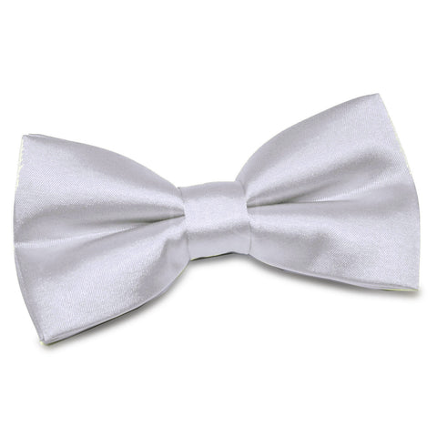 TiesDirect.co.uk - Plain Satin Pre-Tied Bow Tie Colour silver