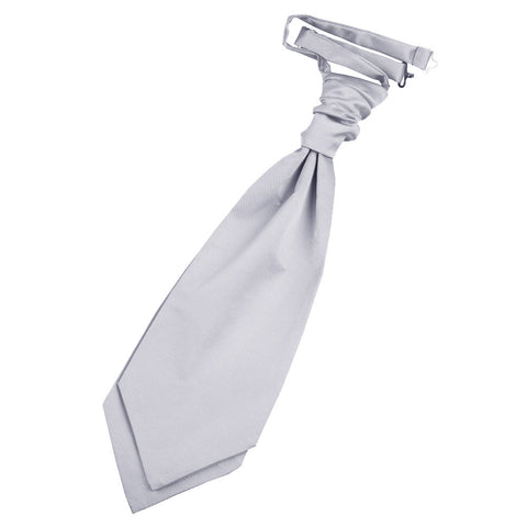 TiesDirect.co.uk - Plain Satin Pre-Tied Ruche Cravat Colour silver