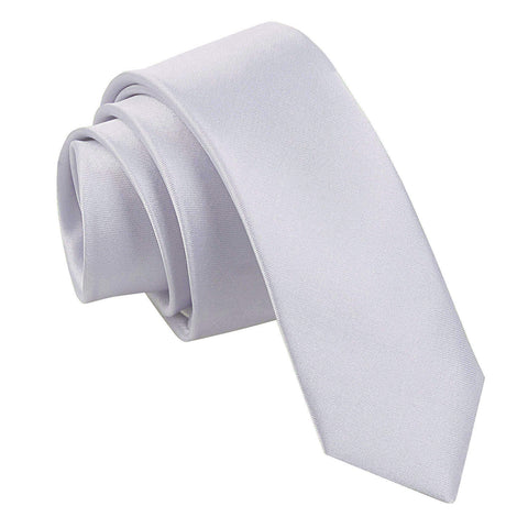 TiesDirect.co.uk - Plain Satin Skinny Tie Colour silver