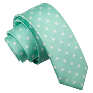 TiesDirect.co.uk - Polka Dot Skinny Tie Colour mint-green
