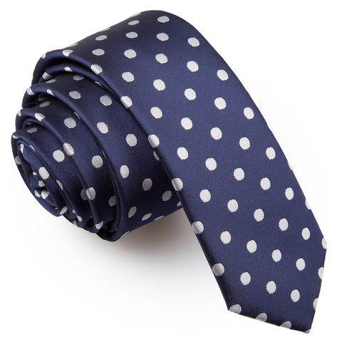 TiesDirect.co.uk - Polka Dot Skinny Tie Colour navy-blue