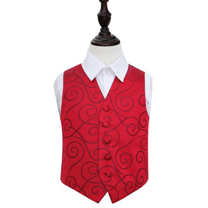 TiesDirect.co.uk - Scroll Waistcoat - Boys Colour burgundy
