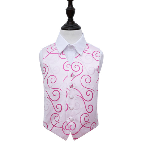 TiesDirect.co.uk - Scroll Waistcoat - Boys Colour white-hot-pink