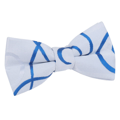 TiesDirect.co.uk - Scroll Pre-Tied Bow Tie - Boys Colour white-royal-blue