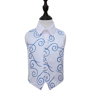 TiesDirect.co.uk - Scroll Waistcoat - Boys Colour white-royal-blue
