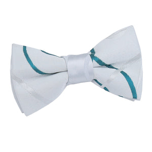 TiesDirect.co.uk - Scroll Pre-Tied Bow Tie - Boys Colour white-teal