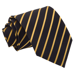 TiesDirect.co.uk - Single Stripe Regular Tie Colour black-gold
