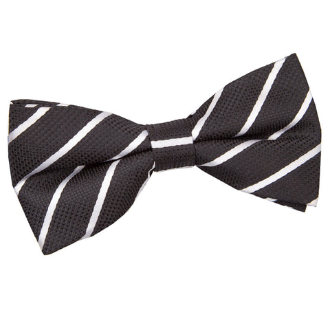 TiesDirect.co.uk - Single Stripe Pre-Tied Bow Tie Colour black-white