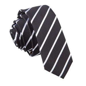 TiesDirect.co.uk - Single Stripe Skinny Tie Colour black-white