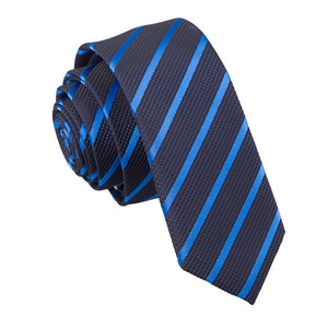 TiesDirect.co.uk - Single Stripe Skinny Tie Colour navy-mid-blue
