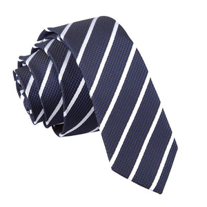 TiesDirect.co.uk - Single Stripe Skinny Tie Colour navy-white