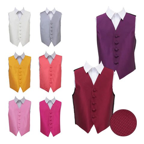 TiesDirect.co.uk - Solid Check Waistcoat - Boys Colour burgundy