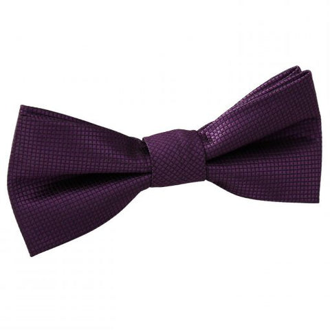 Solid Check Pre-Tied Bow Tie - Boys - cadbury-purple -