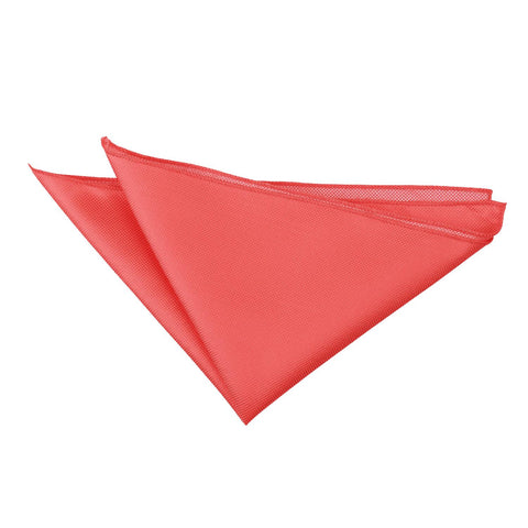 TiesDirect.co.uk - Solid Check Handkerchief Colour coral