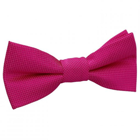 Solid Check Pre-Tied Bow Tie - Boys - fuchsia-pink -