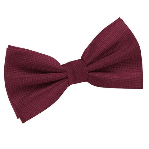 TiesDirect.co.uk - Solid Check Pre-Tied Bow Tie Colour burgundy