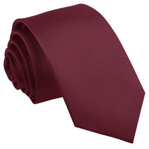 TiesDirect.co.uk - Solid Check Slim Tie Colour burgundy