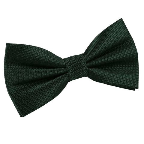 TiesDirect.co.uk - Solid Check Pre-Tied Bow Tie Colour dark-green