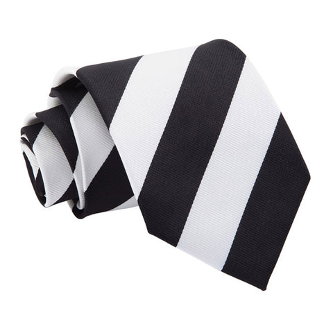 TiesDirect.co.uk - Striped Regular Tie Colour black-white