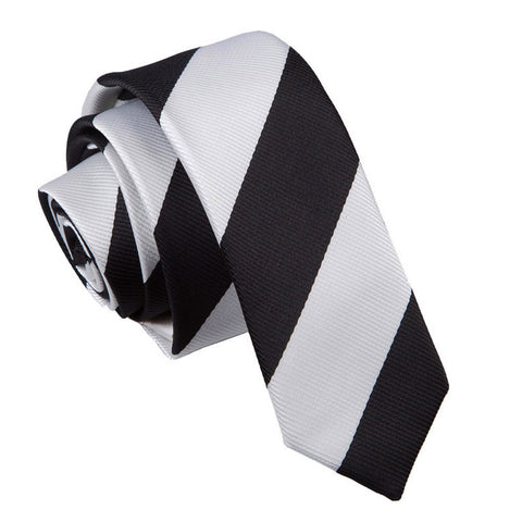 TiesDirect.co.uk - Striped Skinny Tie Colour black-white