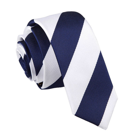 TiesDirect.co.uk - Striped Skinny Tie Colour navy-white
