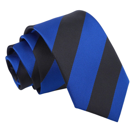 TiesDirect.co.uk - Striped Slim Tie Colour royal-blue-black
