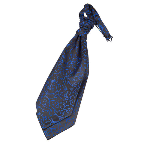 TiesDirect.co.uk - Swirl Pre-Tied Ruche Cravat Colour black-blue